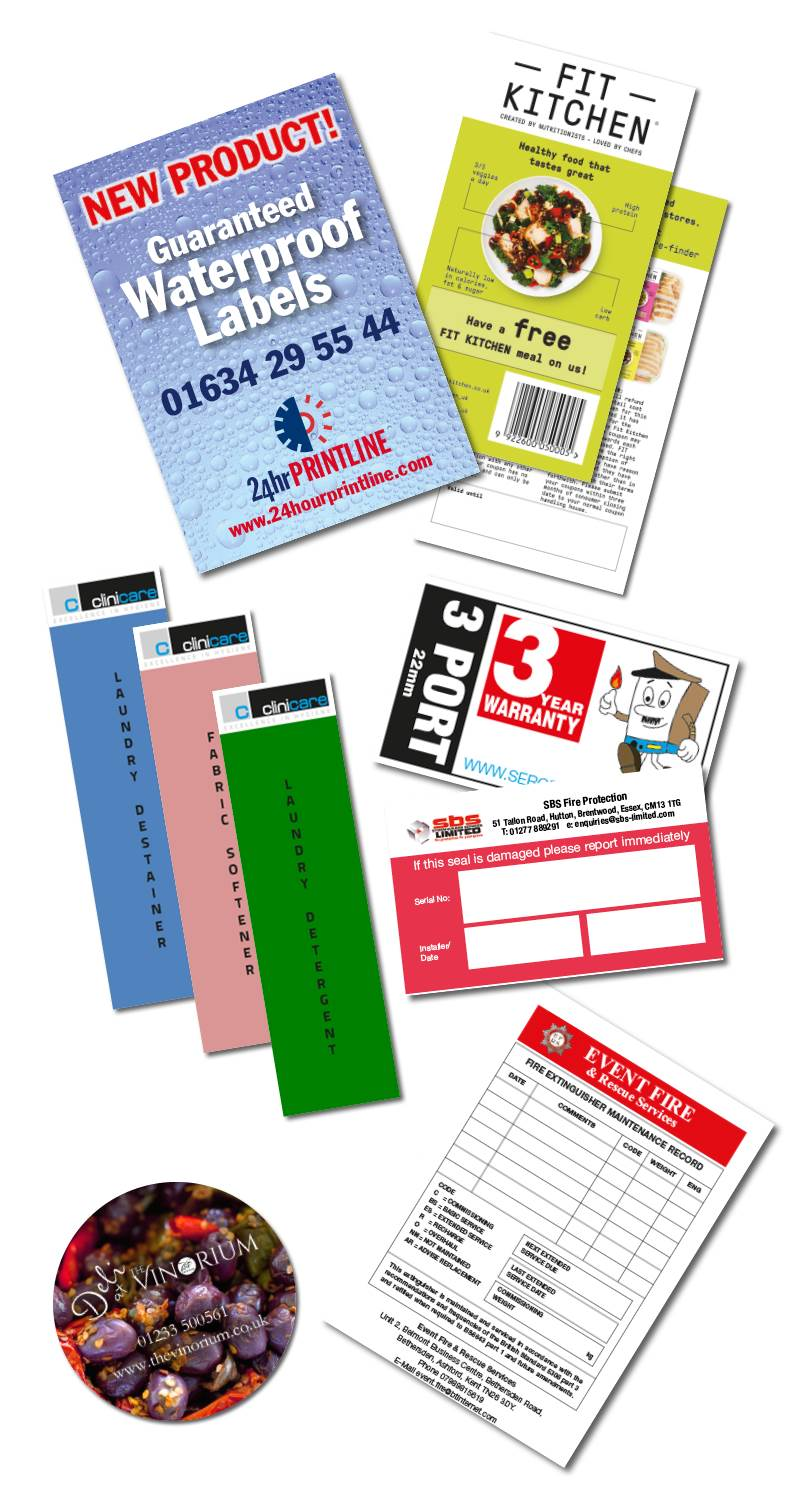 Range of labels and stickers - we even provide waterproof ones