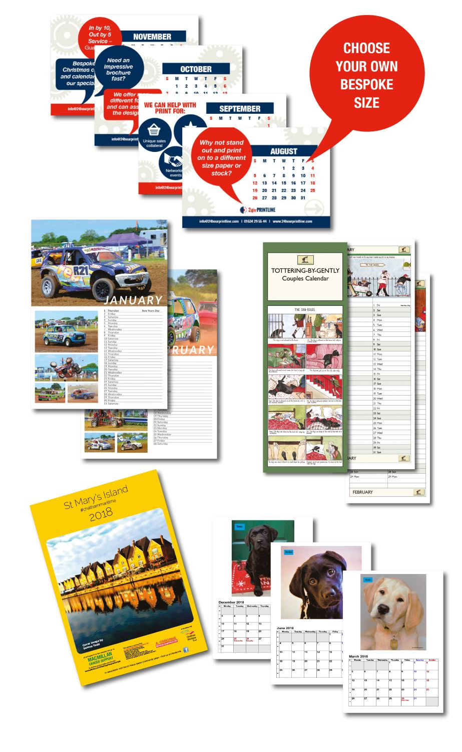 Options for our printed calendars